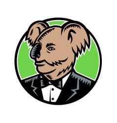 Koala wearing tuxedo woodcut color vector
