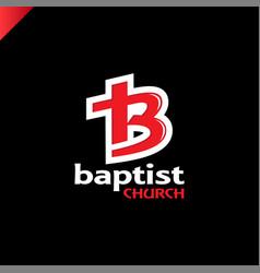 letter b and cross church of jesus christ logo vector image