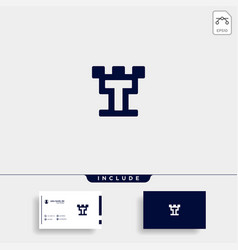 Letter t castle logo design icon vector