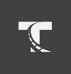 Letter t way logo design template vector