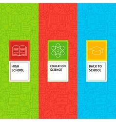 Line School Education Patterns Set vector image