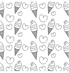 Line sweet ice cream in the cornet with heart vector