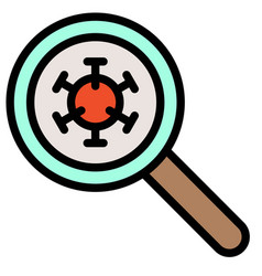 magnify glass with virus filled style icon vector image