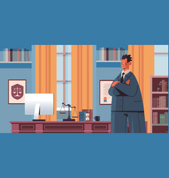 male lawyer standing near at workplace legal law vector image