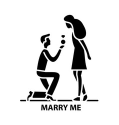 Marry me icon black sign with editable vector
