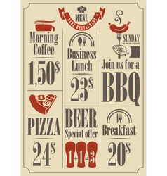 Menu set vector