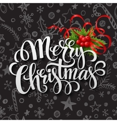 Merry Christmas lettering in chalk seamless vector