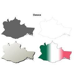 Oaxaca blank outline map set vector image