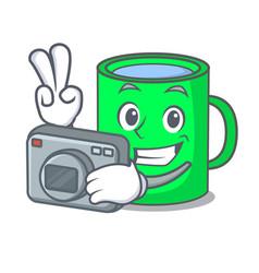 Photographer mug mascot cartoon style vector