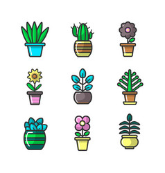 Plants in flower pots decoration icons set vector