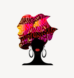 portrait beautiful african woman in afro turban vector image