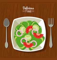 Poster delicious food in kitchen table background vector
