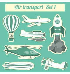 Public transportation air transportation Icon set vector