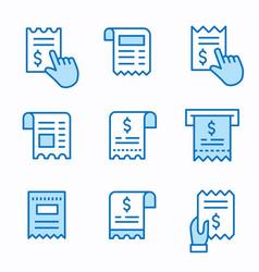 receipt flat line icon set vector image