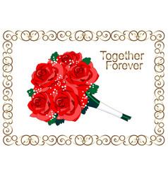 red roses golden vintage floral frame gold vector image