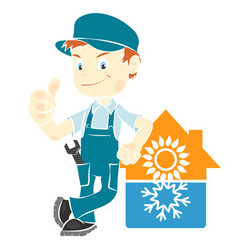 repair man for installing air conditioning vector image