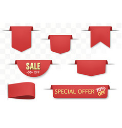 sale tags set red discount badges and big deals vector image