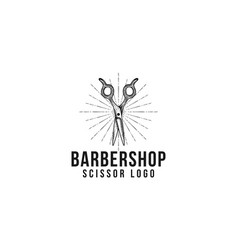 scissor vintage hand drawn barber shop logo vector image