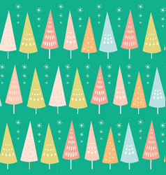 seamless pattern of pastel chrismas trees vector image