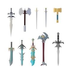 set fantastic game weapon models vector image