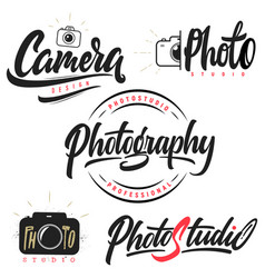 Set lettering and calligraphy logo vector