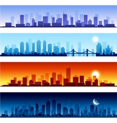 Set of city skylines background vector