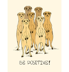 Sketch With Funny Meerkats vector image