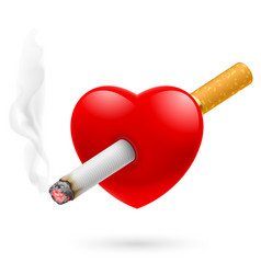 Smoking kill red heart impaled cigarette vector