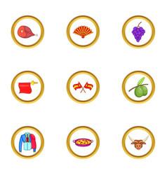 spanish journey icons set cartoon style vector image