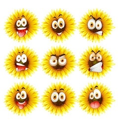 Sunflowers with facial expression vector image
