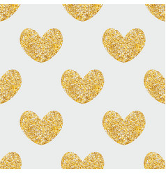 Tile pattern with golden hearts on grey background vector