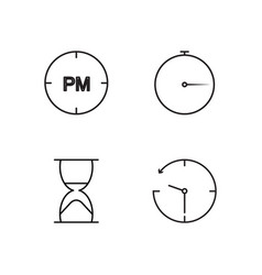 time outline icons set vector image