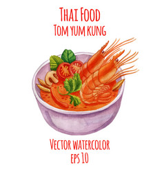 Tom yum kung watercolor-style vector