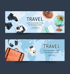 Tourism day banner design with baggage boots vector