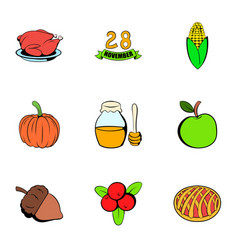Turkey icons set cartoon style vector