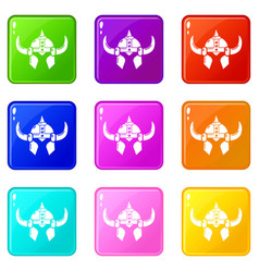 viking helmet knight icons set 9 color collection vector image