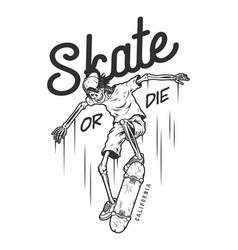 Vintage monochrome skateboarding logo vector