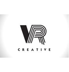 vr logo letter with black lines design line letter vector image