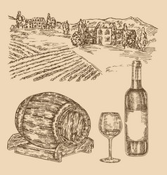 wine set hand drawn vineyad wine barrel and vector image