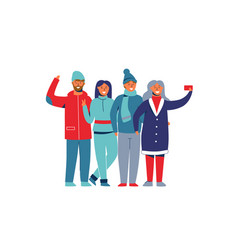 winter holidays people taking a photo characters vector image