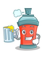 With juice aerosol spray can character cartoon vector