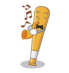 with trumpet baseball bat character cartoon vector image