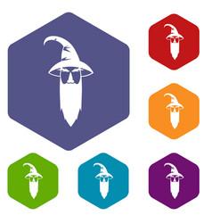 Wizard icons set vector