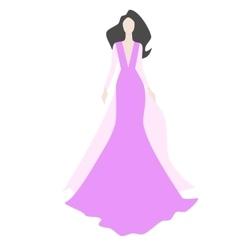 Fashionl brunette woman in stylish evening dress vector image