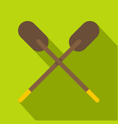 Two wooden crossed oars icon flat style vector
