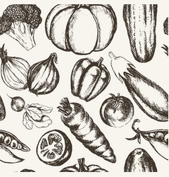 vegetables - black and white hand drawn seamless vector image vector image