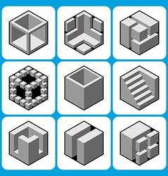 cube icon set 2 vector image vector image