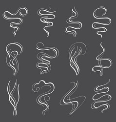 smoke steam set smell and fumes line icons vector image