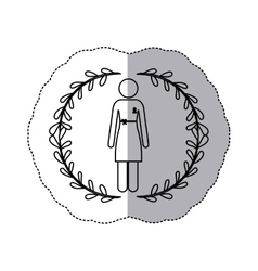 sticker silhouette woman with dress with ribbon of vector image vector image