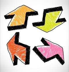 4 hand drawn color arrows vector image vector image